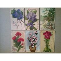 Flores - 6 Cartoes Postais Circulados, Inicio De 1900
