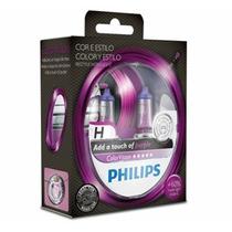 Par De Lâmpadas Philips Color Vision H7 Roxo