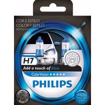 Lâmpada Farol Philips H7 Color Vision Azul 55w 12v - Par