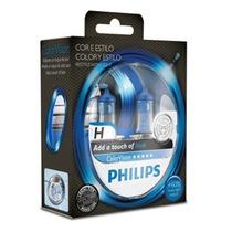 Par De Lâmpadas Philips Color Vision H7 Azul