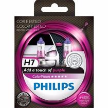 Lâmpada Farol Philips H7 Color Vision Roxo 55w 12v - Par