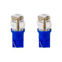 Par Lâmpada Xenon Led Pingo Azul 5 Super Leds Frete Grátis