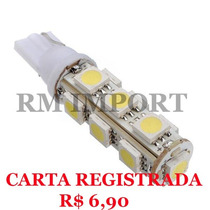 Lâmpada Led T10 13 Led´s Smd 5050 12v (pingo) Frete R$ 6,90
