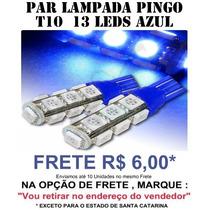 Par Pingo 13 Leds Smd 5050 T10 Azul - Super Oferta