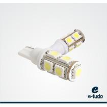 Par Lampada Pingo 9 Leds Super Branca T10