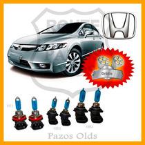 Kit Lampada Super Branca 2 Hb4+2 Hb3+2 H11 New Civic 07/11