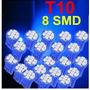 10 Lampadas T10 W5w 8 Led Smd 3528 Azul Alto Brilho