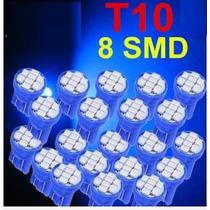 10 Lampadas T10 W5w 8 Led Smd 3528 Azul Pingo Farolete
