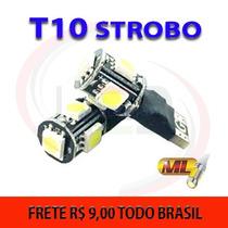 Par Lampadas Pingo 5 Leds T10 2 Funçoes Normal/strobe Light