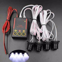 Strobo Safety Car Para Carro Com 4 Leds - Branco