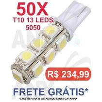 Kit 50 Lampadas Pingo T10 13 Leds Smd 5050 Branco
