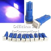 Par Lampada Led Azul 5w T10 Xenon Farol Luz Painel