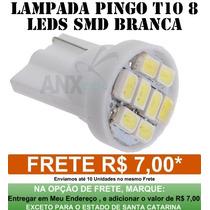 Lampada 8 Leds T10 Pingo Farolete Xenon Super Branca