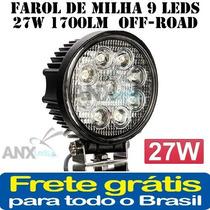 Farol De Milha 9 Leds 27w 1700lm 12/24v Off-road