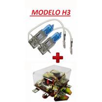 Kit Lampada H3 Super Branca 100w + Rele Transparente