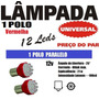Lâmpada Lanterna Traseira 12 Leds 1 Polo Paralelo - Vermelha