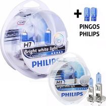Kit Lâmpada Farol H1 + H7 Philips Cristal Vision 4300k