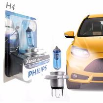Par Lampada Blue Vision H4 + H1 Branca Philips Efeito Xenon