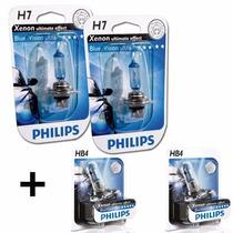 Kit Lâmpada Branca H7 + Hb4 Philips Blue Vision Tipo Xenon