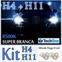 Kit Lampada Super Branca 2 H4 +2 H11 Honda Fit 2009 À 2015