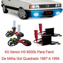 Kit Xenon H3 8000k Para Farol Milha Gol Quadrado 1987 A 1994