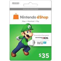 Cartão Nintendo 3ds Wii U Eshop Cash Card $35 Envio Imediato