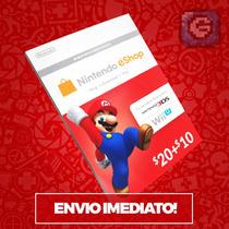 Cartão Nintendo 3ds - Wii U Eshop Cash Card $30 ($20+$10) Us