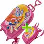 Mochila Escolar Com Rodinhas + Lancheira 3d Infantil Disney