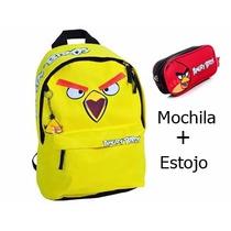 Mochila Angry Birds G Amarela Juvenil E Estojo De Lápis