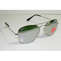 Óculos De Sol Ray Ban Aviador Rb3025 Prata Espelhado Cristal