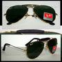 Oculos De Sol 3422q Caçador Dourado Lente Verde Couro Preto