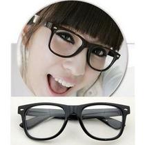 Armação Oculos Grau Wayfarer Retrô E Lentes Transparentes.