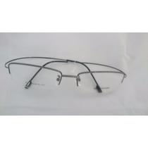 Armação P/ Óculos De Grau Meio Aro Em Titânio Titanium Cinza