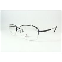 Armação Oculos Grau Titanium Preta Multifocal Meio Aro A610