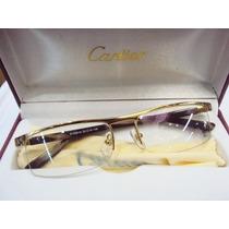 Armação Oculos De Grau Masculina Cor Dourada+ Case+ Pano