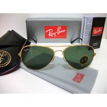Óculos De Sol 3025 Aviador Dourado Lente Verde