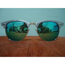 Óculos Clubmaster 3507 Aluminium Prata Azul Claro Espelhado