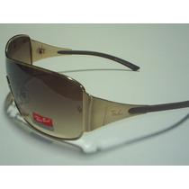 Óculos De Sol Ray Ban 3321 Dourado Lentes Marrons Leilão