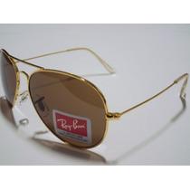 Óculos De Sol Ray Ban R3025 Aviador Dourado L/marrons Leilão