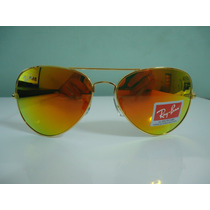 Oculos De Sol 3025 Dourado Lente Vermelho Espelhado