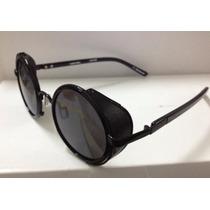 Óculos Redondo Preto C Proteção Lateral Vintage Estiloso B89