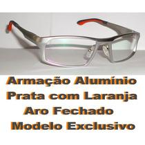 Armação Alumínio Para Óculos De Grau Aro Fechado Mola Hastes
