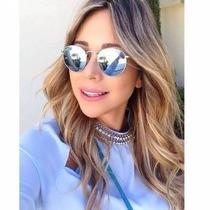 Óculos De Sol Modelo Ovalado Lentes Espelhadas Prata
