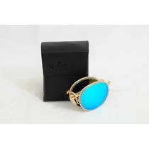 Óculos Ray Ban Rb3517 Round Metal Dobrável - Azul Espelhado