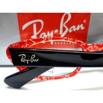 Rx5242 Armação Retrô Óculos Grau Acetato Preto C/vermelho