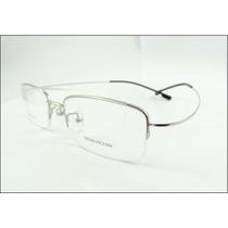 Armação Óculos De Grau Prata Meio Aro Feita De Titanium A614