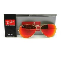 Óculos Rayban Aviador Vermelho Espelhado Ray Ban Original