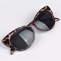 Oculos De Sol Estilo Gatinho Armação Leopardo Oncinha