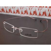 Armação Óculos Grau Silhouette B668 Titanium Flexivel Rosa