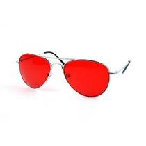 Óculos Aviador Com Lentes Vermelhas Armação Preta